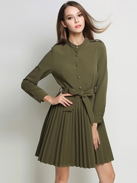 Ericdress Pleated Belt-Tied Stand Collar Button Casual Dress