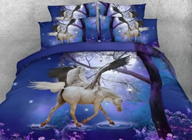 Ericdress Blue Unicorn Horse Print 3D Bedding Sets