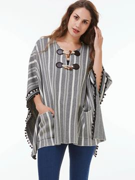 Ericdress Stripped Horn-Button Loose Cape