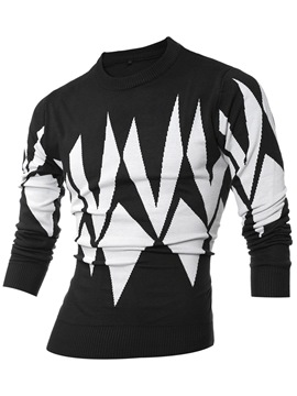 Ericdress Color Block Crew Neck Slim Men's Sweater