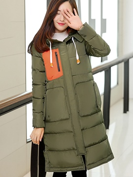 Ericdress Color Block Straight Casual Coat