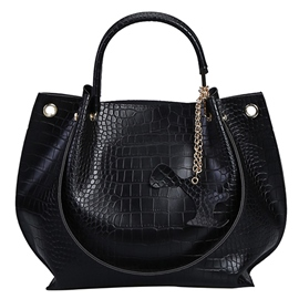 Temperament Croco-Embossed Wing Handbag
