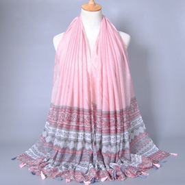 Ericdress Flowers Stripe Design Tassels Scar