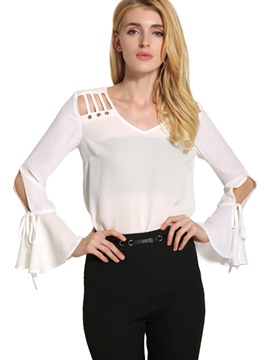 Ericdress Flare Sleeve V-Neck Hollow Blouse