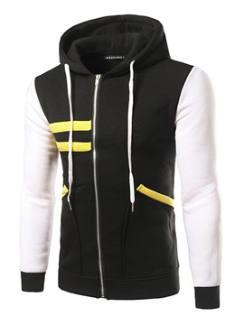 Ericdress Zip Unique Stripe Casual Men's Hoodie