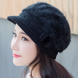 Ericdress Bowknot Embellished Rabbit Hair Knitted Hat