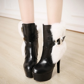 Ericdress PU Platform Furry High Heel Boots