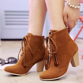 Ericdress Lace up Chunky Heel Ankle Boots