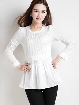 Ericdress Pelplum Plain Long Sleeve Blouse