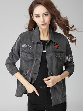 Ericdress Appliques Loose Denim Outerwear