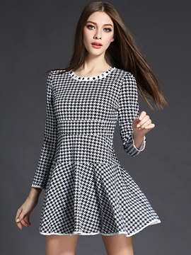 Ericdress Houndstooth Print Pleated Diamond Patchwork Casual Dress