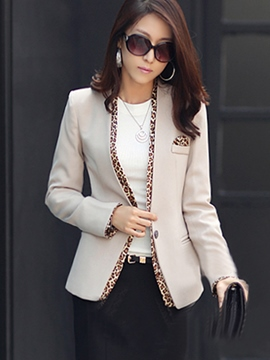 Ericdress Leopard Color Block Slim Blazer