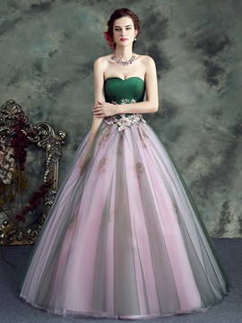 Ericdress Sweetheart Ball Gown Appliques Beading Long Quinceanera Dress