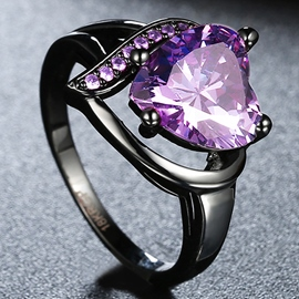 Ericdress Heart-Shaped Purple Zircon Ring