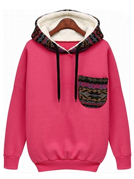 Ericdress Loose Color Block Fleece Hoodie