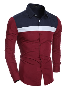 Ericdress Color Block Casual Design Long Sleeve Men's Shirt