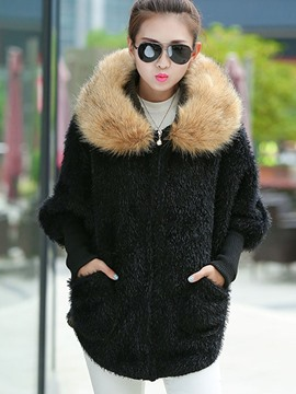 Ericdress Color Block Pocket Loose Faux Fur Coat