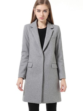 Ericdress Solid Color Single-Breasted Straight Coat