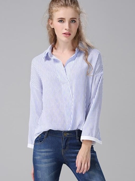 Ericdress Fine Vertical Stripe Lapel Blouse