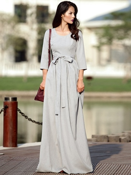 Ericdress Mori Girl Strip Lace-Up Maxi Dress