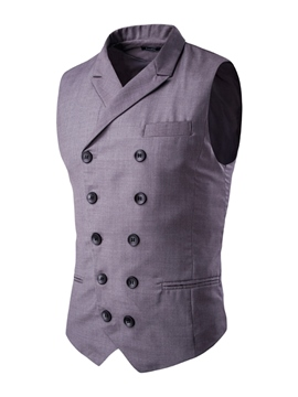 Ericdress Plain Double-Breasted Slim Men's Vest