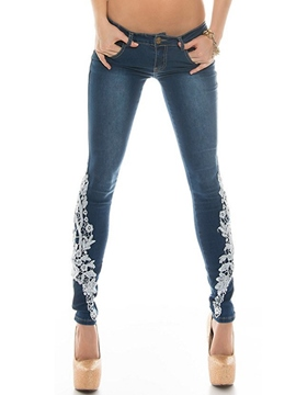 Ericdress Solid Color Lace Patchwork Jeans