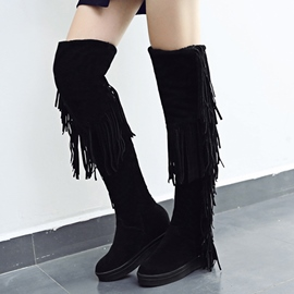 Ericdress Pretty Girl Suede Tassels Knee High Boots