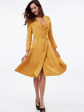 Ericdress Notched Lapel Belt Pocket Pleated Casual Dress