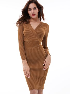 Ericdress Cross Knitting Patchwork Bodycon Dress
