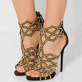 Ericdress Black Cut Out Stiletto Sandals