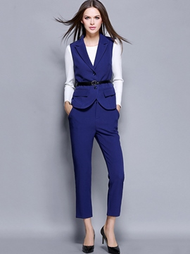 Ericdress Solid Color Waistcoat Two-Piece Leisure Suit