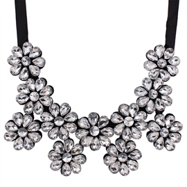 Ericdress Crystal Flower Ribbon Necklace