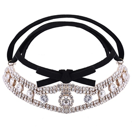 Ericdress Flannelette Diamante Choker Necklace