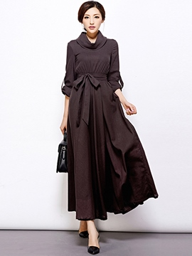 Ericdress Lapel Lace-Up Pleated Maxi Dress