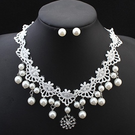 Ericdress Imitation Pearl White Lace Jewelry Set