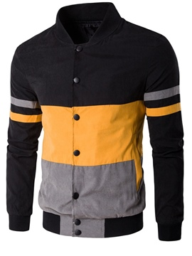 Ericdress Color Block Single-Breasted Casual Men's Jacket