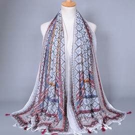 Ericdress Geometric Pattern Design Fringed Scarf
