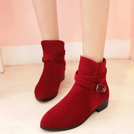 Ericdress Cute Suede Buckles Ankle Boots