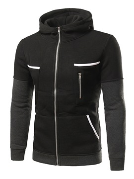 Ericdress Double-Breasted Color Block Casual Men's Hoodie