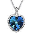 Ericdress Blue Heart-Shaped Zircon Pendant Necklace