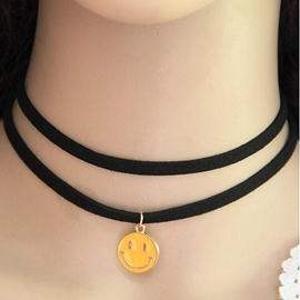 Ericdress Double Layers Smiling Face Pendant Necklace