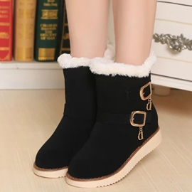 Ericdress Suede Buckles Decorated Furry Snow Boots