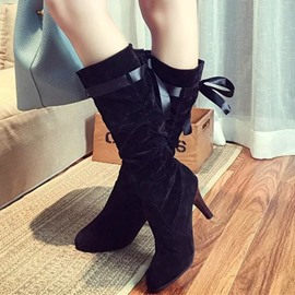Ericdress Modern Suede Back Lace up Knee High Boots
