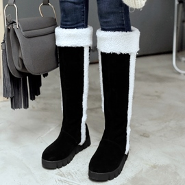 Ericdress Round Toe Furry Flat Snow Boots