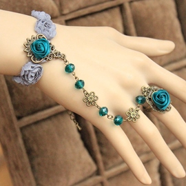 Ericdress Green Flowers Crystal Bracelet with Ring