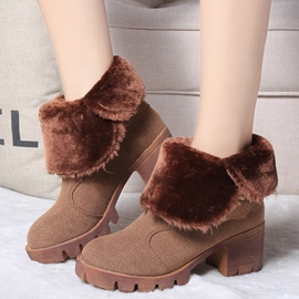 Ericdress Chic Furry Square Heel Ankle Boots