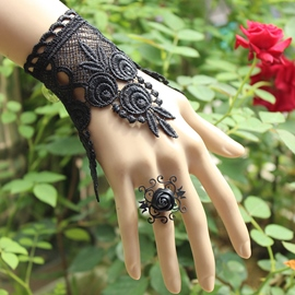 Ericdress Black Lace Flower Vine Bracelet