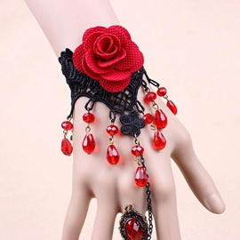 Ericdress Gothic Red Rose Lace Bracelet with Ring