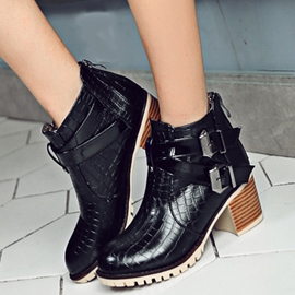 Ericdress Cool Buckles Square Heel Ankle Boots