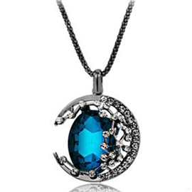 Ericdress Moon Full Rhinestone Pendant Necklace